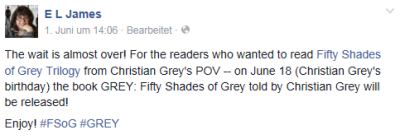E L James - Facebook: Neuer Roman
