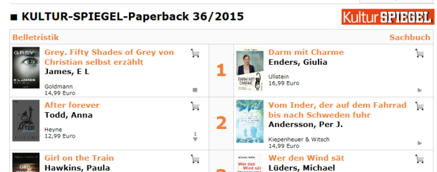 Spiegel-Bestsellerliste Paperback mit Fifty Shades of Grey